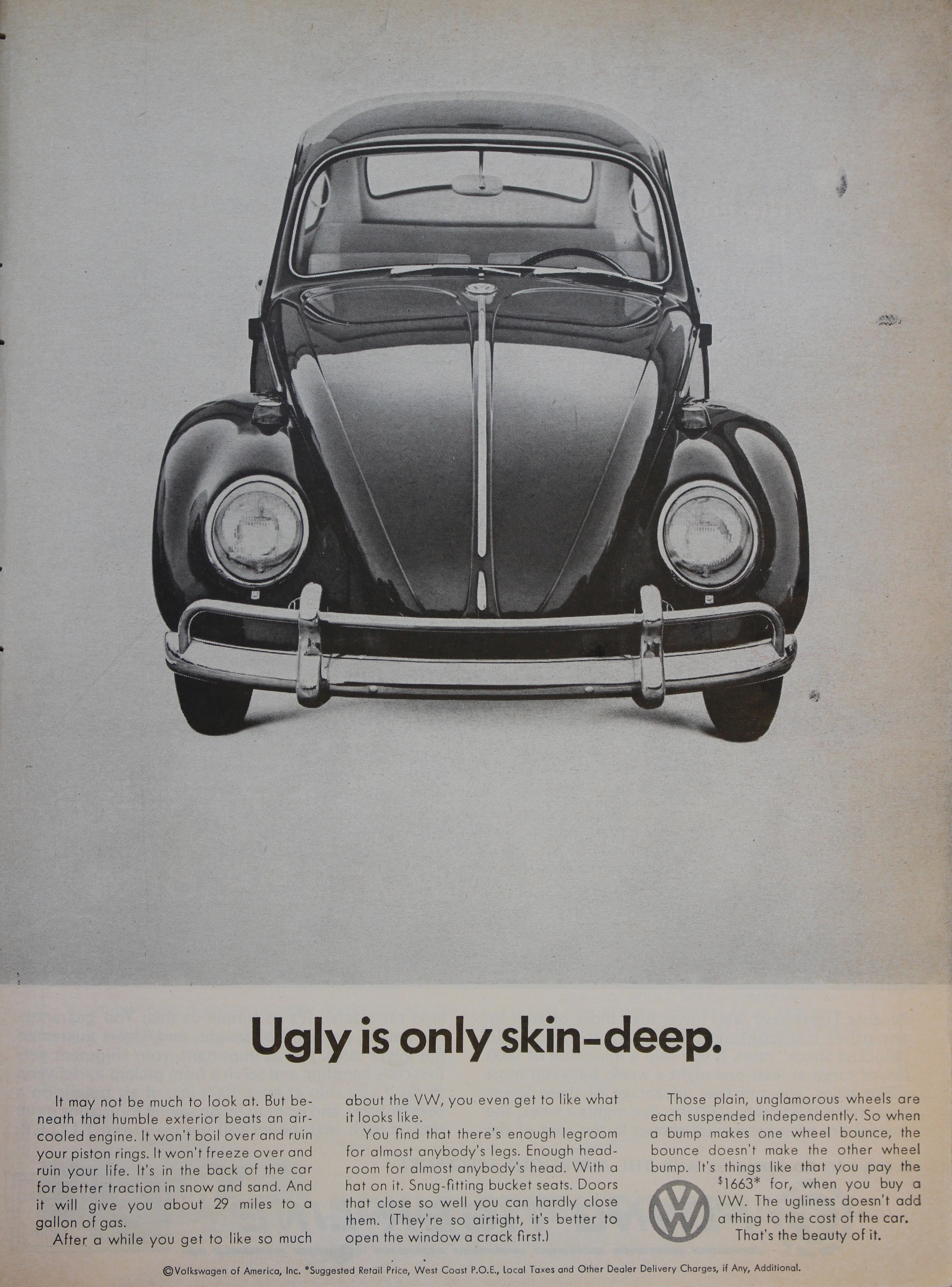 1969 VOLKSWAGEN BEETLE Ugly As Ever VINTAGE AD VW Doesn/'t Do It Again