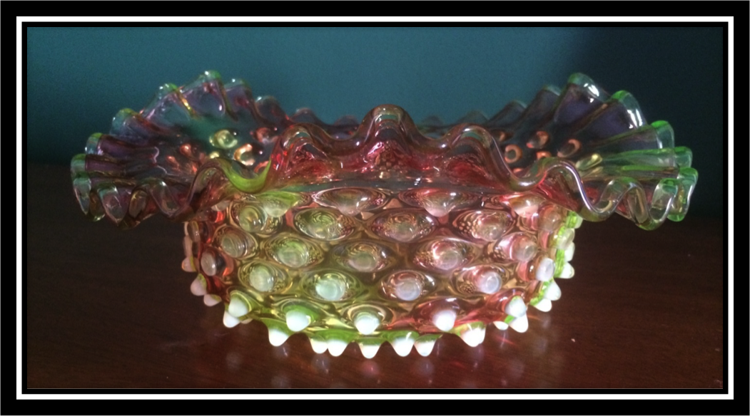 Confident Large Fenton French Opalescent Hobnail Ruffled Dish For Improving Blood Circulation Art Glass